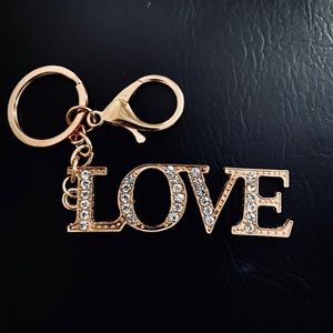 LOVE Gold Crystal Keychain NEW 🌷